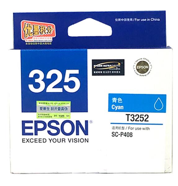 图片 爱普生T3252墨盒1100页(适用于爱普生P408打印机)青色